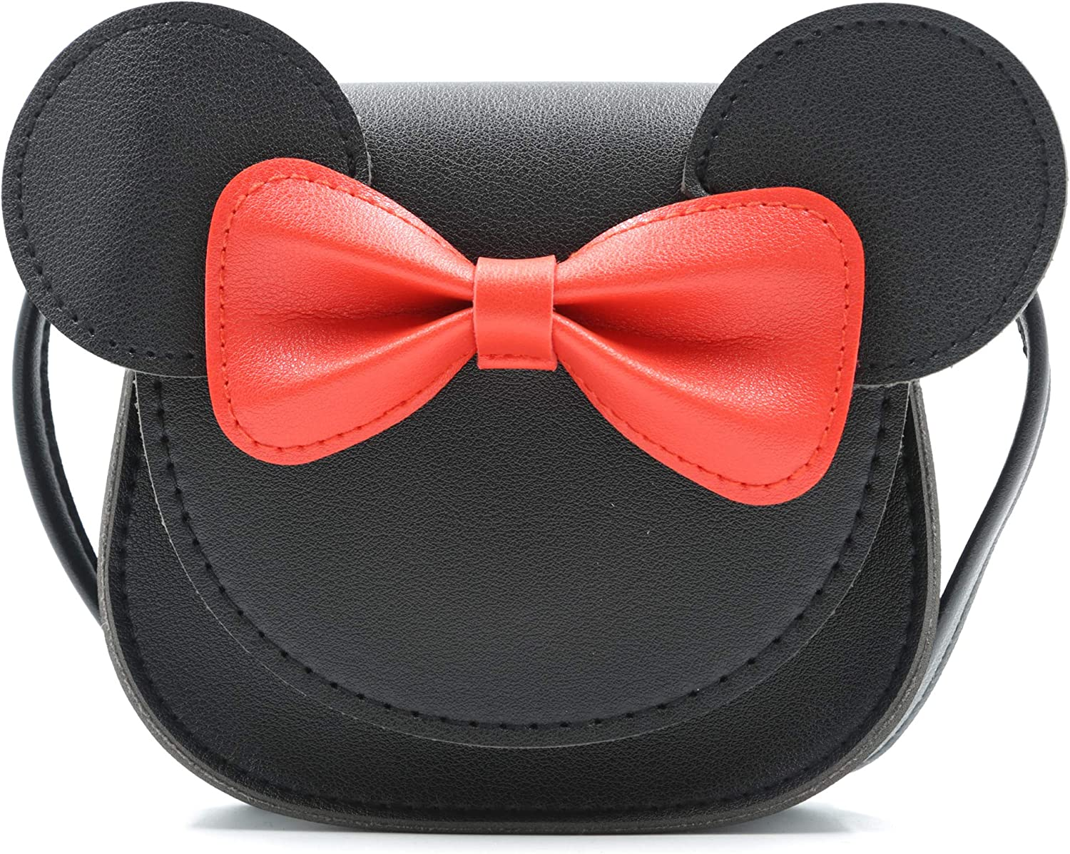 HXQ Little Mouse Ear Bow Crossbody Purse,PU Shoulder Handbag for Kids Girls Toddlers