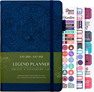 $24 » Legend Planner Jul 2020-Jul 2021 Academic Weekly & Monthly Planner to Hit Your Goals, Increase Productivity & Live Happier. Organizer Notebook & Productivity Journal. A5 Hardcover – Mystic Blue