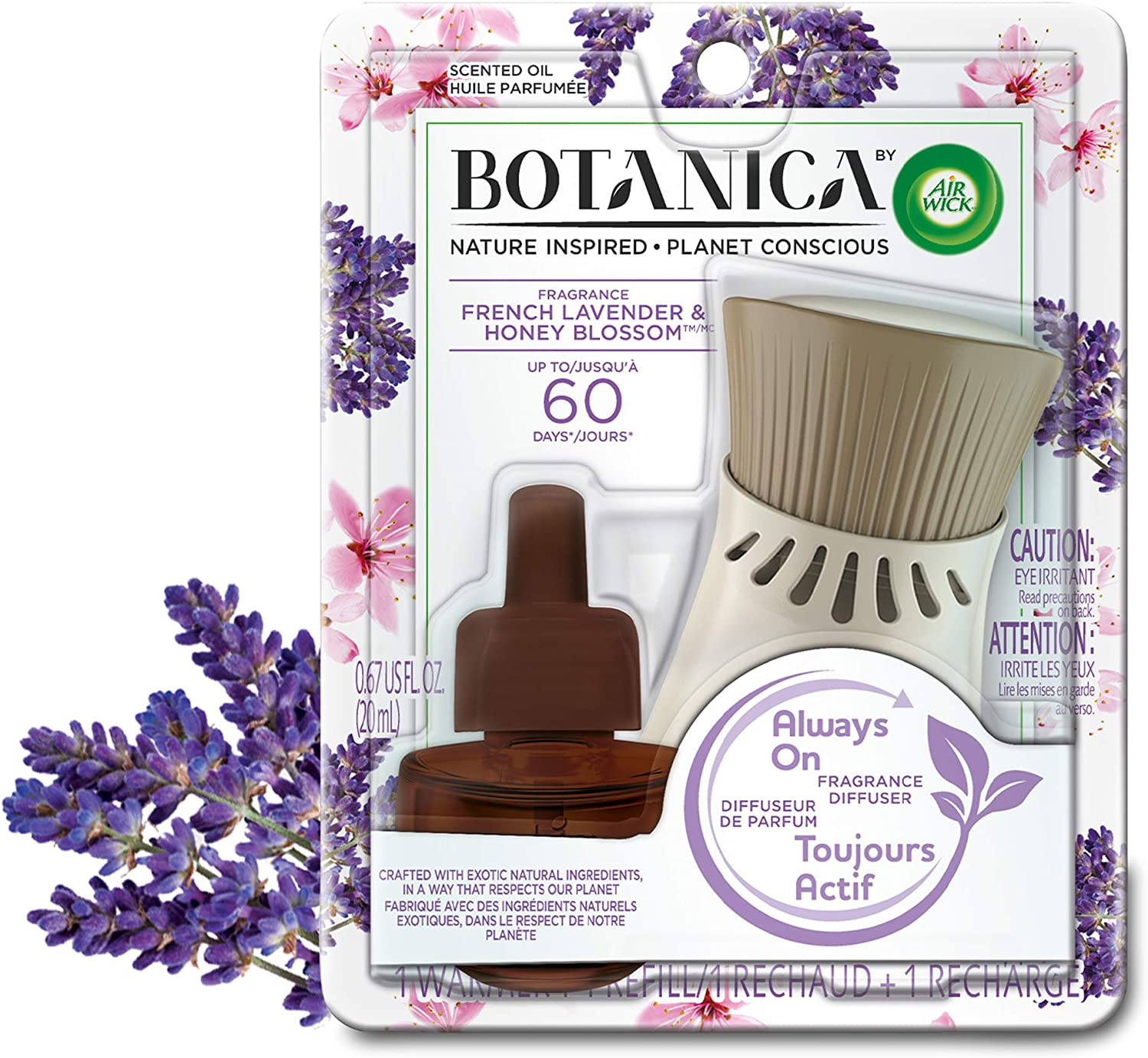 Botanica by Air Wick Plug in Scented Oil Starter Kit, 1 Warmer + 1 Refill, French Lavender and Honey Blossom