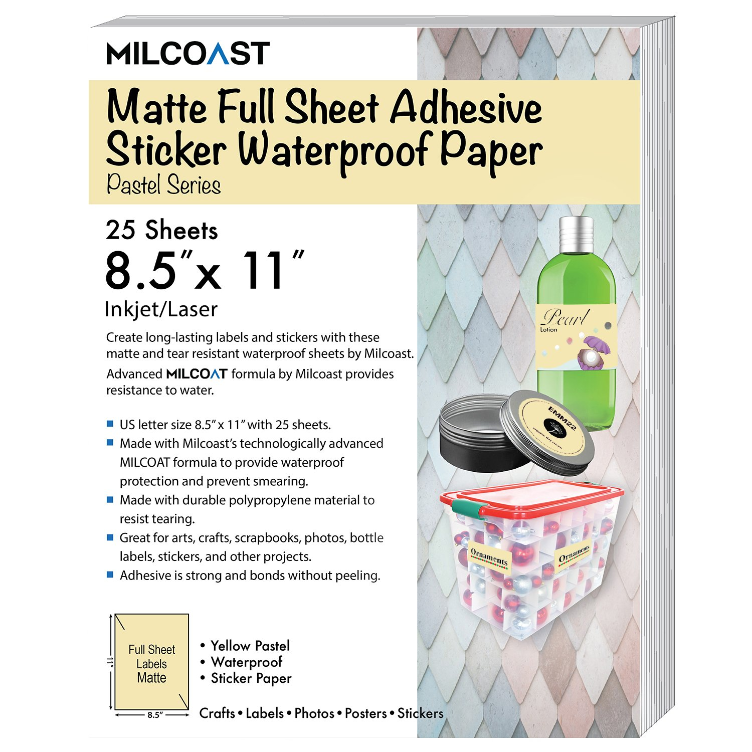 """Milcoast Neon Full Sheet 8.5 x 11/"""" Waterproof Labels 5 Colors 25 Sheets"""