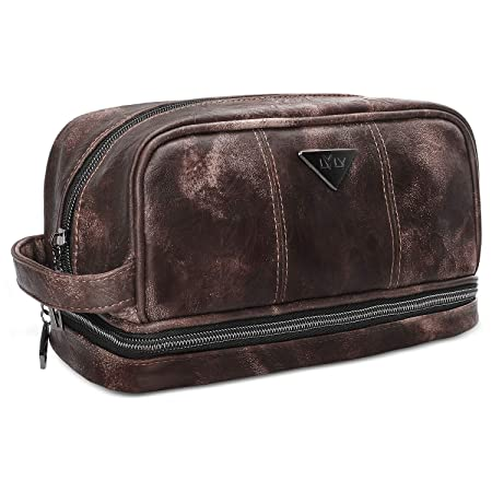 LVLY Men's Leather Toiletry Bag