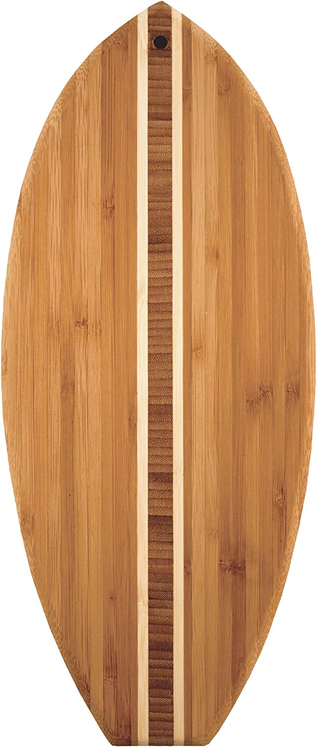 Surfboard Shaped Bamboo Serving and Cutting Board