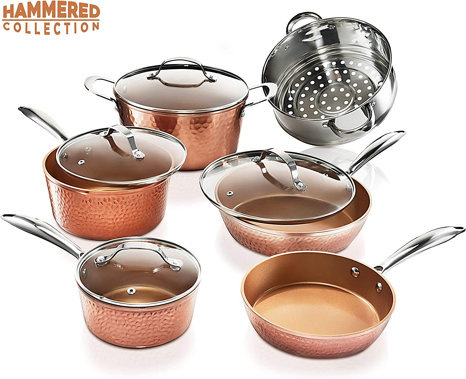 Gotham Steel 10 Piece Premium Ceramic Cookware Set with Triple Coated Ultra Nonstick Surface