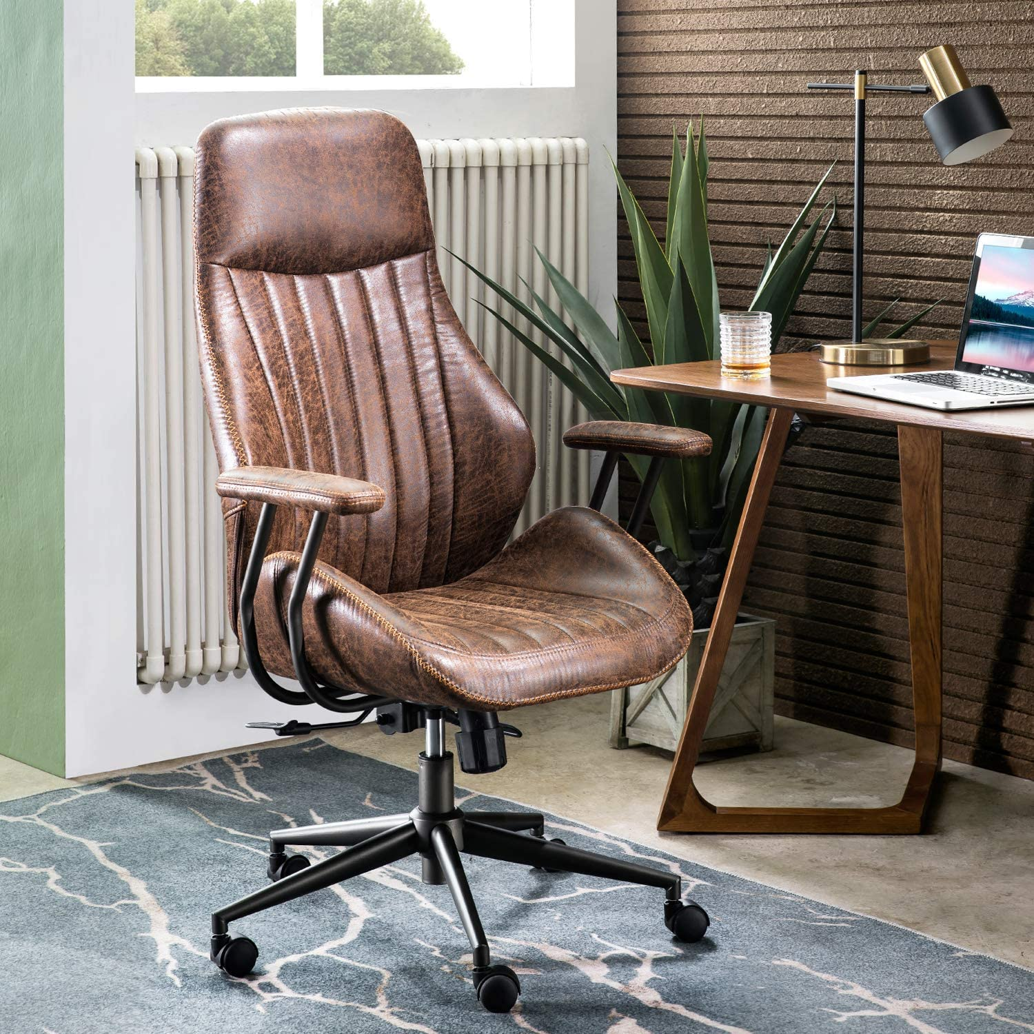 ovios Ergonomic Office Chair,Modern Computer Desk Chair,high Back Suede Fabric Desk Chair with Lumbar Support for Executive or Home Office