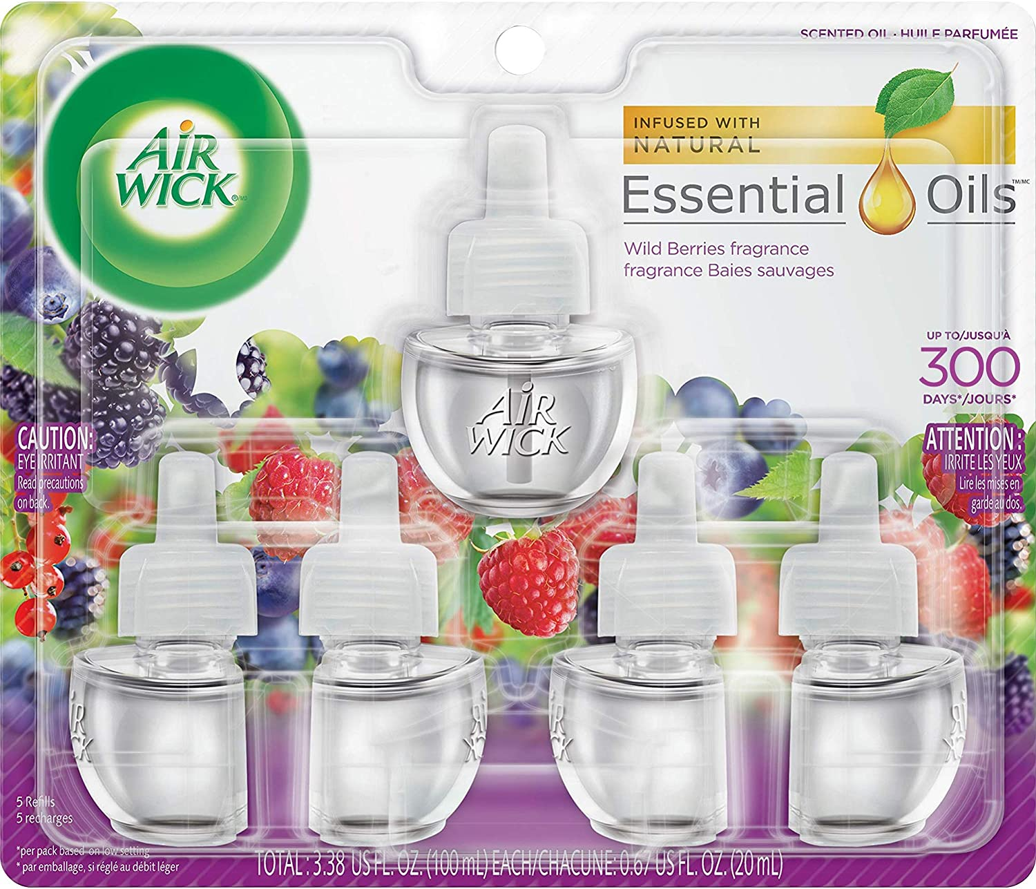 Air Wick Plug in Scented Oil 5 Refills, Wild Berries, Fall scent, Fall spray
