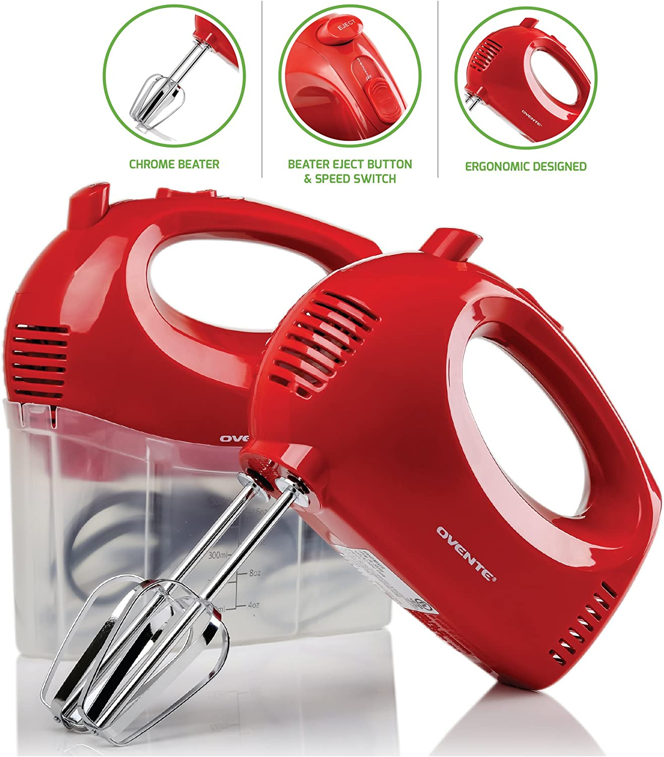 Ovente Electric Hand Mixer 5 Speed Ultra Mixing with Snap Storage Case 2 Stainless Steel Beater Attachments, Compact Light Portable 150 Watt Powered Blender for Baking, Cake & Cooking