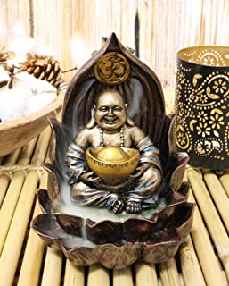 "Ebros Matreiya Happy Laughing Buddha Hotei Carrying Gold Ingot Seated On Ohm Lotus Padma Throne Backflow Cone Incense Burner Statue 6""Tall Buddhism Statue Feng Shui Luck And Prosperity Decor Sculpture"
