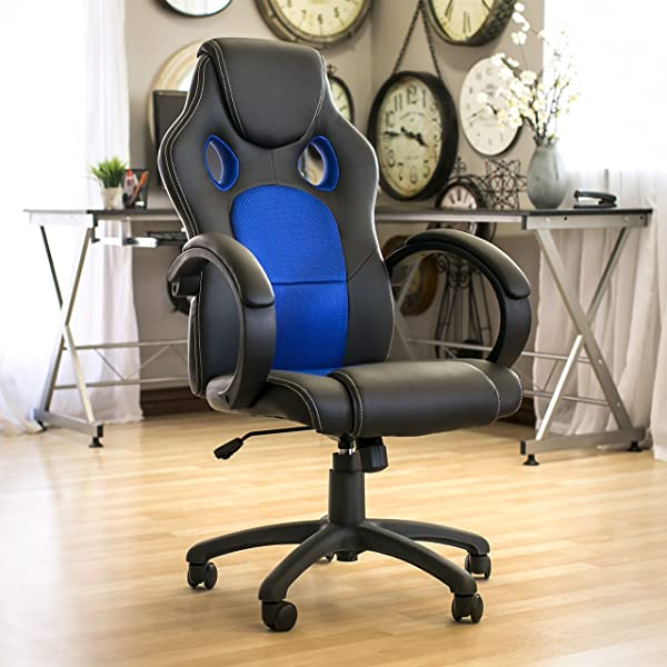 est Choice Products Executive Racing Style Swivel Office Chair w/High-Back Seat, Tilt & Height Adjustment