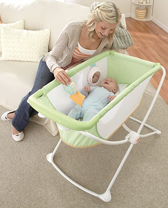 Fisher-Price Rock with Me Bassinet mom and baby