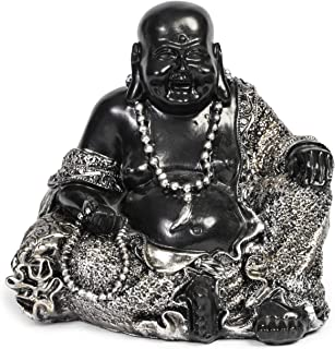 Juvale Laughing Buddha Statue for Home and Garden (Black and Silver, 7 Inches)