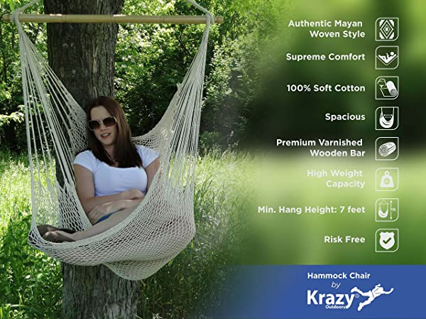 Krazy Outdoors Mayan Hammock Chair - Large Cotton Rope Hanging Chair Swing with Wood Bar - Comfortable, Lightweight - for Indoor & Outdoor Porch, Yard
