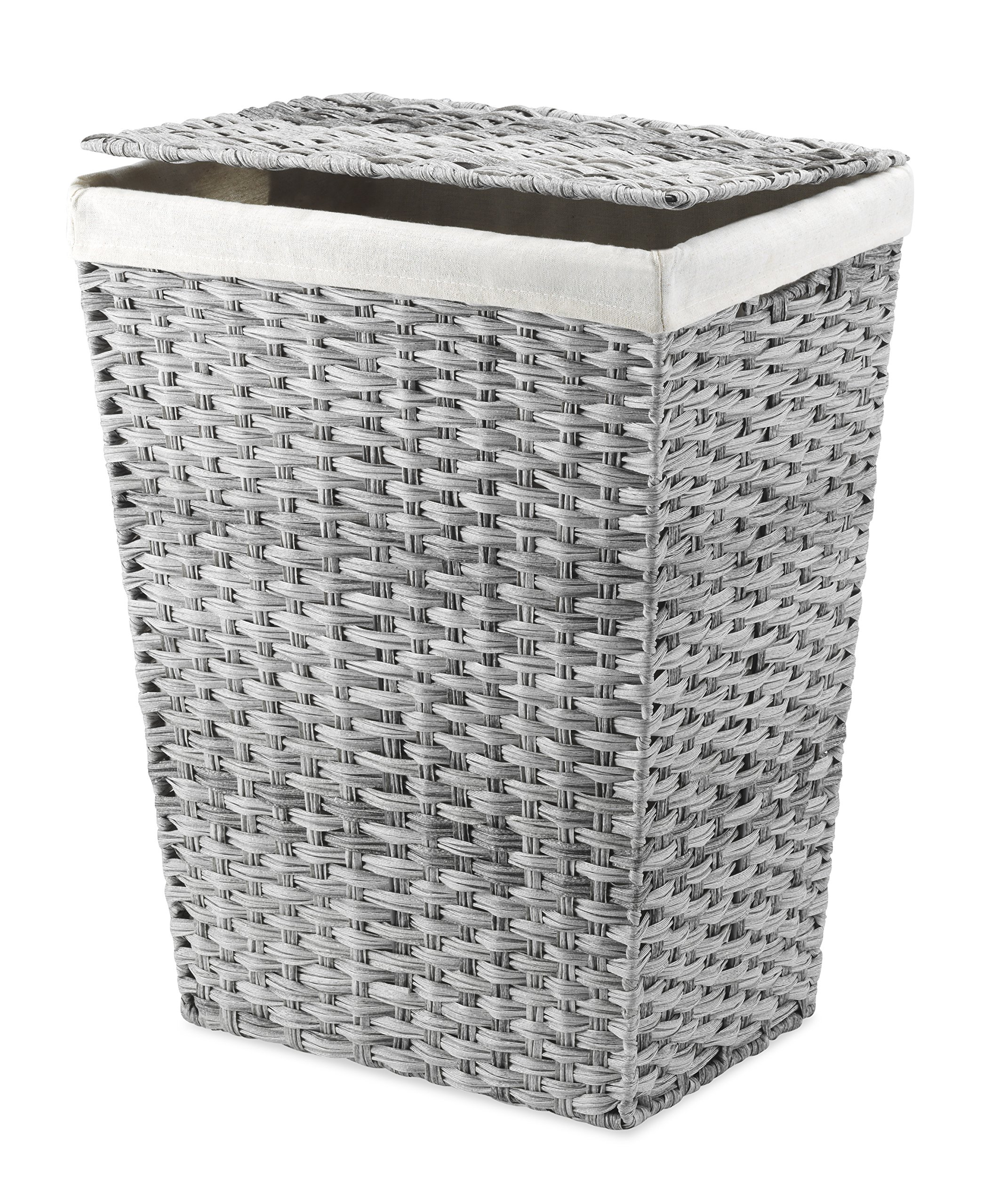 Greenstell Handwoven Laundry Hamper With 2 Removable Liner Bag Synthetic Rattan Laundry Basket With Lid And Handles Foldable And Easy To Install Gray Standard Size Laundry Hampers Home Kitchen