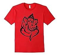 Elegant Lord Ganesha Hindu Indian Hinduism God As Elephant Shirts Red