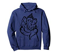 Elegant Lord Ganesha Hindu Indian Hinduism God As Elephant Shirts Hoodie Navy