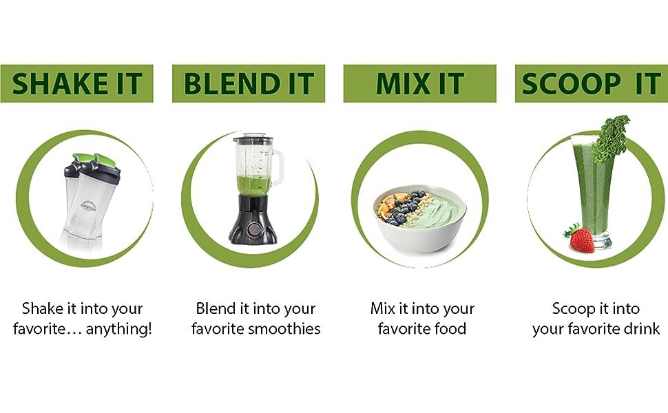 Shake it blend it mix it scoop it
