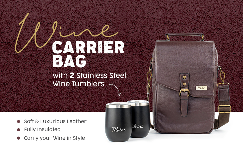 wine carrier bag tumblers insulated soft leather style picnic travel