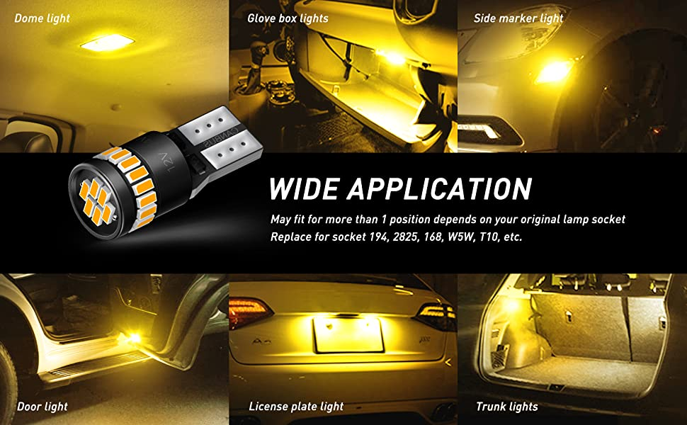 194 amber led bulb on car effect