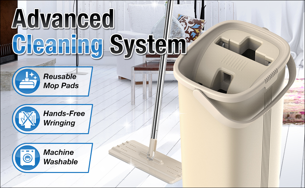 Tethys Advanced Cleaning System Mop and bucket set