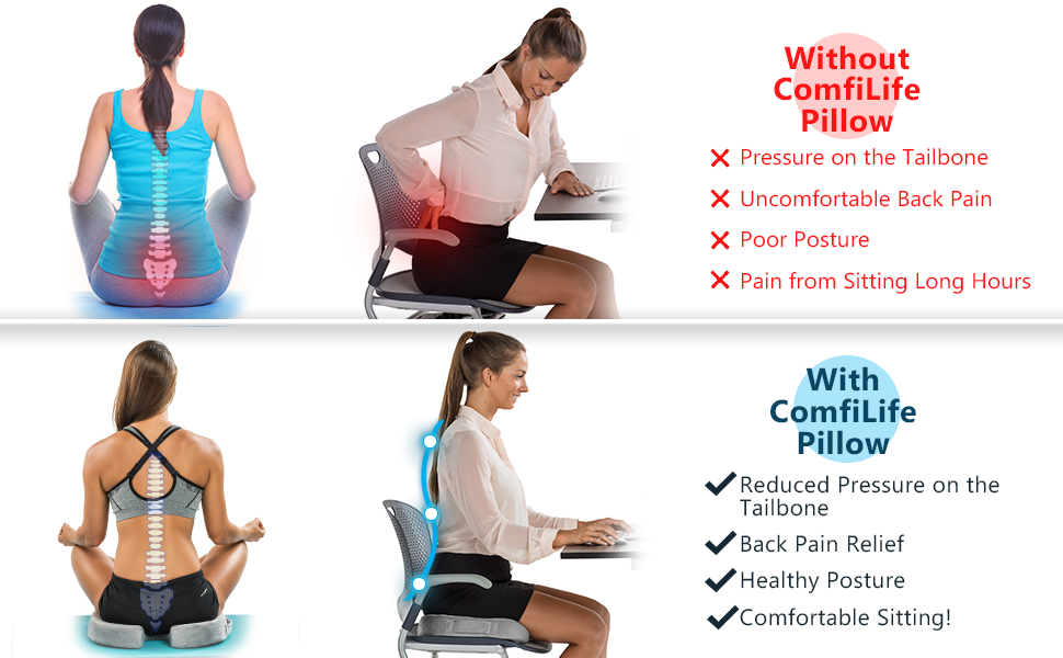 Seat Cushion for Back Pain Sciatica Relief