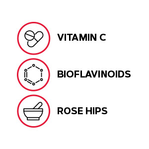 Includes vitamin C, bioflavonoids and rose hips