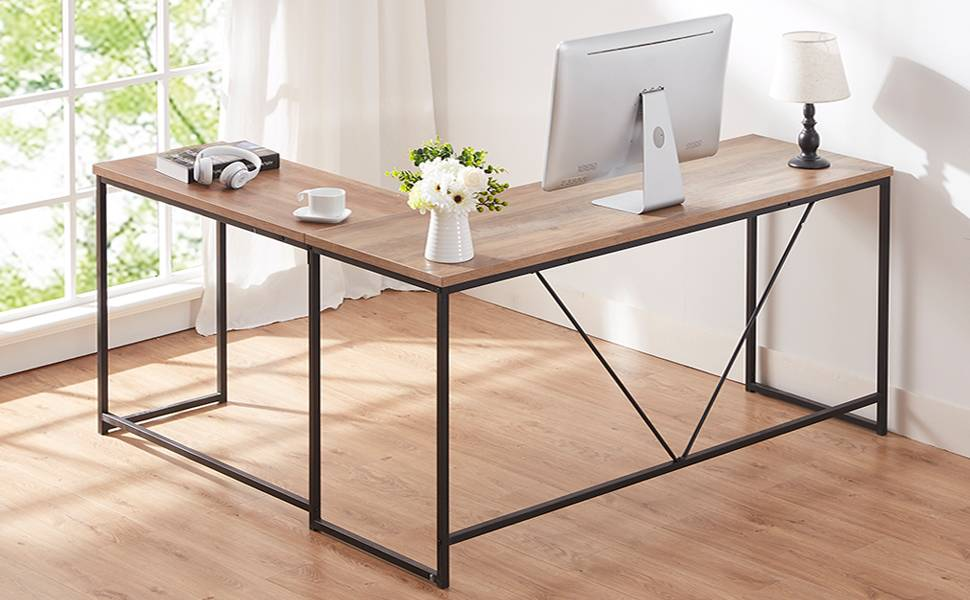 L Shaped Metal and Wood Rustic Corner Computer Table Desk ...