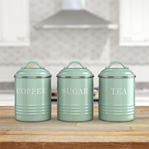lifestyle photo for Kitchen Canisters with Lids Mint Metal