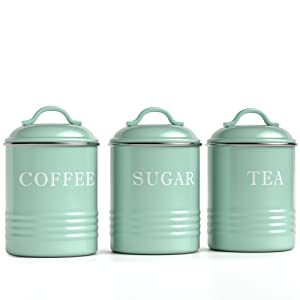 main photo for Kitchen Canisters with Lids Mint Metal