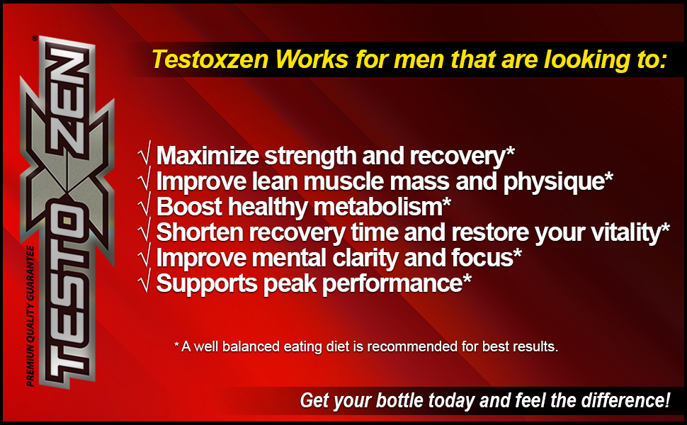 testoxzen strength recovery energy focus libido