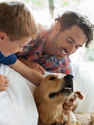 Father and son petting golden retriever in bedroom