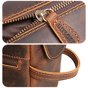 metal zippers leather toiletry bag for men  genuine cowhide leather shaving leather dopp crazy-horse