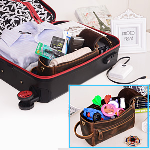 travel bag  picnic bag  gift  washing bags for men or women  leather makeup bag
