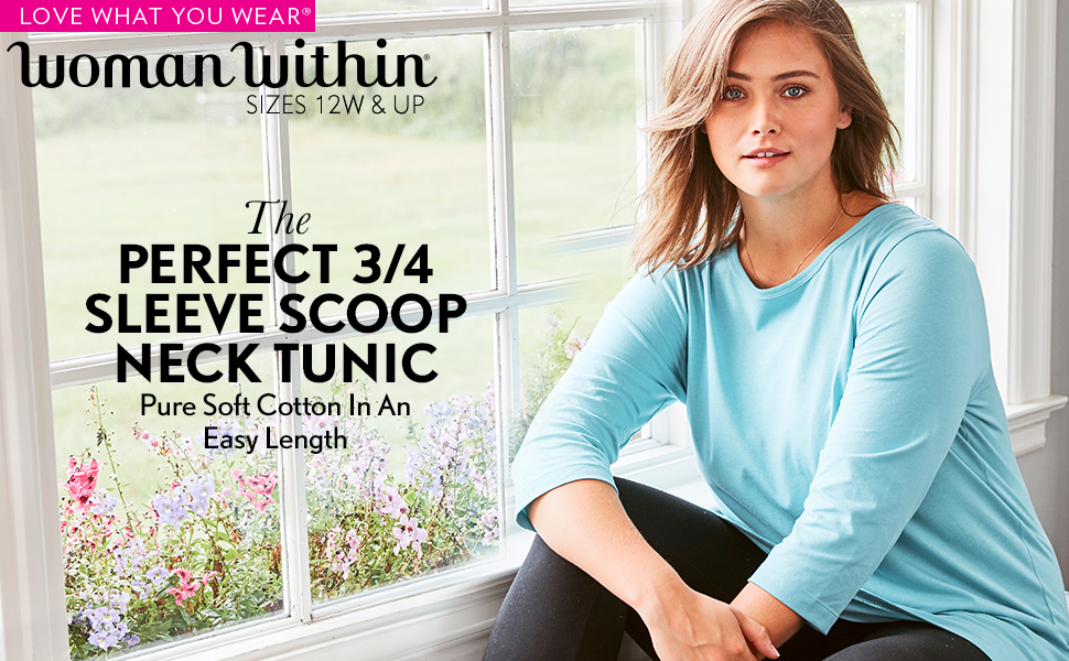 woman within perfect 3/4 three quarter sleeve scoop neck tunic pure soft cotton in an easy length
