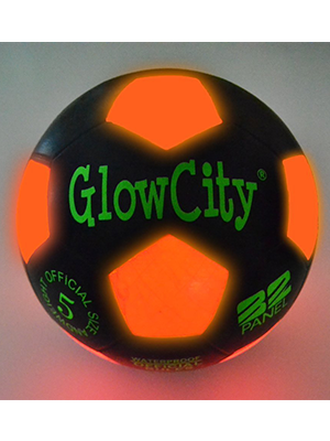 GlowCity LLC Light Up LED Black & Orange Soccer Ball