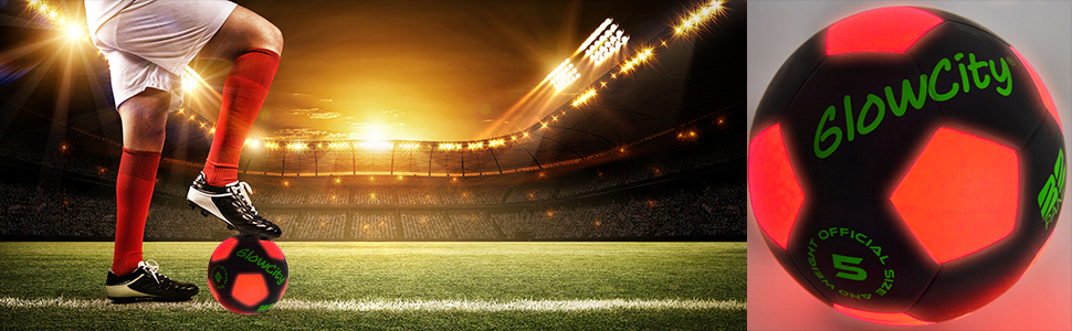 Light Up black soccer ball using LED lights by GlowCity