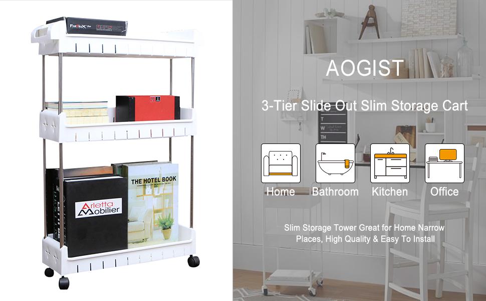 slim storage cart tiered shelving unit slide out storage tower gap organizer cart with wheels