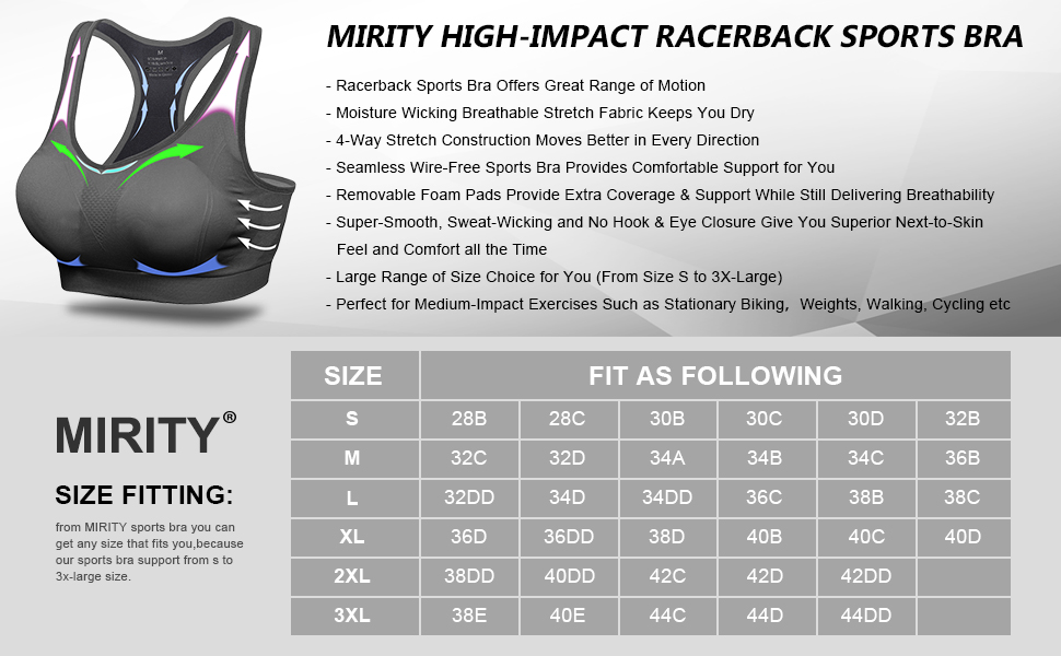 MIRITY SPORTS BRA SIZE FITIING