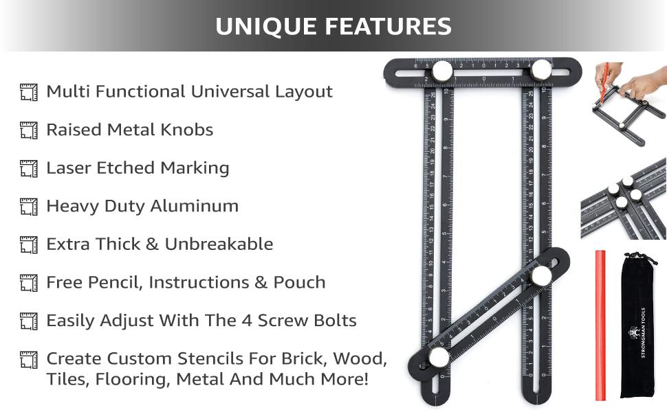 Heavy Duty Aluminum Alloy Angle Template Tool
